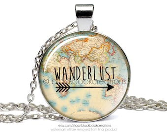 Wanderlust Vintage Map Necklace -  Handmade