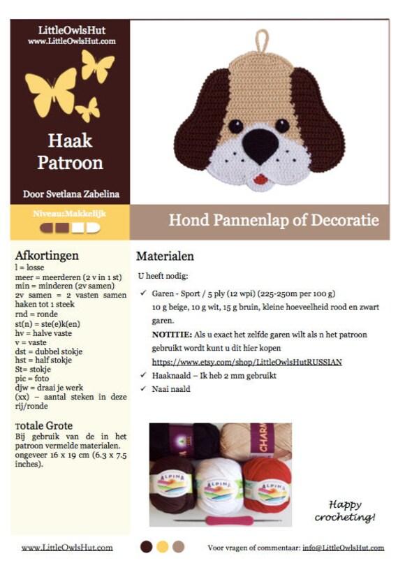 161nly Haak Patroon Hond Decoratie Of Pannenlap Amigurumi Etsy