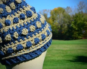 Blue Tan Gray Earthy Beanie Hat   Ready to Ship   Vegan Friendly   Unisex Slouchy Hat Pompom Bobble Stitch