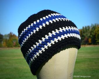 Black Blue Off White Beanie Hat   Ready to Ship   Vegan Friendly   Unisex Slouchy Hat