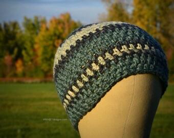 Shades of Green with Black   Handmade hand-dyed HEMP crochet beanie hat unisex cap skullcap headwear OOAK Eco Friendly   Large Men
