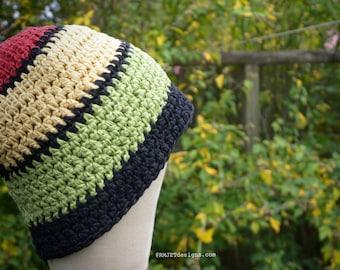 Rasta Handmade 100% Hemp crochet beanie hat | Unisex OOAK Eco Friendly | Gift for Men | Men Hat | Men Beanie | Red | Green | Yellow |