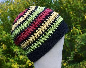 Rasta Handmade 100% Hemp crochet beanie hat   Unisex OOAK Eco Friendly   Gift for Men   Men Hat   Men Beanie   Red   Green   Yellow  