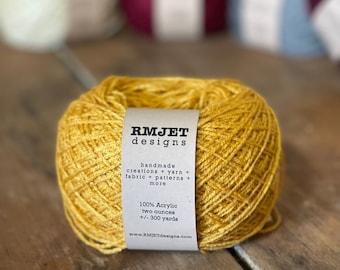 Gold Fingering Weight Sock Yarn - 2 oz - 300 yards - Vegan 100% Acrylic Yellow