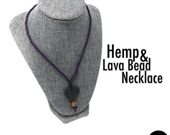 Purple HEMP Lariat Necklace - Heart Lava Bead & Mirage color changing bead - Mother Earth Grounding Oil Diffuser Jewelry Aromatherapy Rock