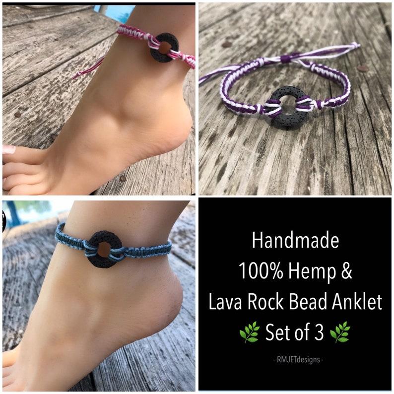 Set of 3 HEMP & LAVA ROCK Bead Anklets / Ankle Bracelet / image 0