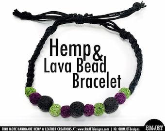 Black Purple Green HEMP & LAVA BEAD Mother Earth Grounding Bracelet Wrap Wrist Cuff Unisex Men Women Essential Oil Diffuser Aromatherapy