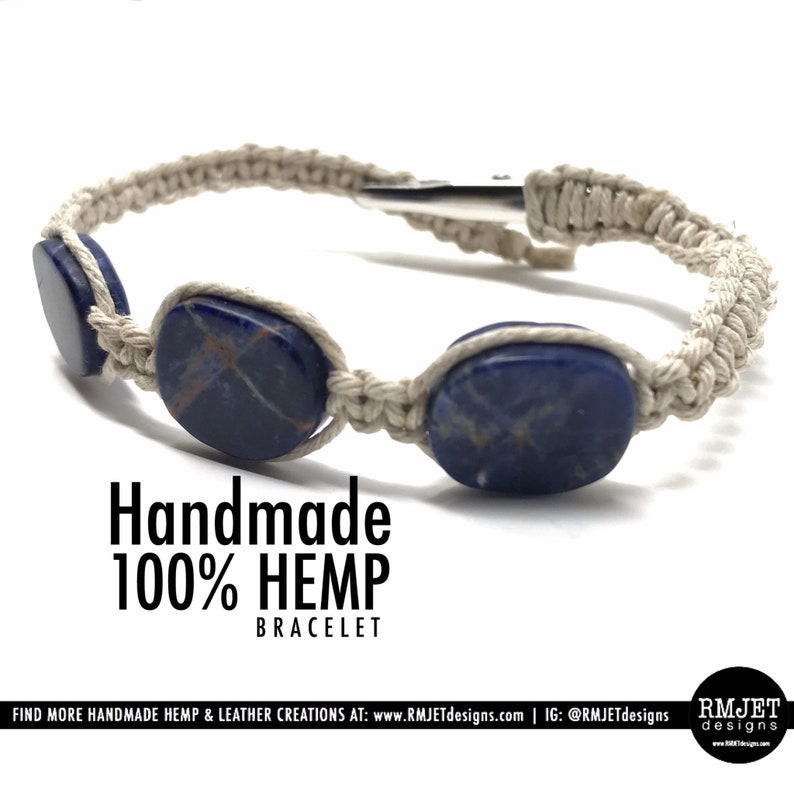 100% Natural HEMP Bracelet with Blue Lapis Lazuli Gemstone image 0