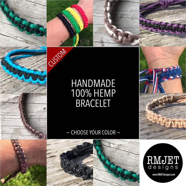 100% HEMP Bracelet  Custom CHOOSE Your COLOR  Thick Unisex image 0