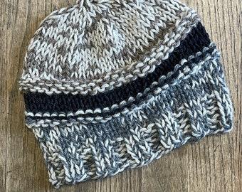 hand knitted hemp and wool beanie hat cap winter wear