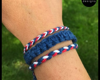 Patriotic HEMP Red White Blue Bracelet Set Wrap Wrist Unisex Men Women Essential Oil Diffuser Aromatherapy Jewelry macrame friendship
