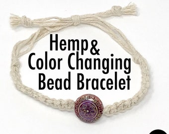 Natural HEMP & Color Changing Mood Bead Mother Earth Grounding Bracelet Wrap Wrist Cuff Unisex Men Women Essential Oil Diffuser Mirage Bead