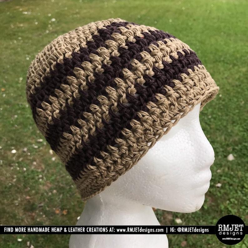 Handmade 100% HEMP crochet beanie hat  Brown Tan  Unisex cap image 0