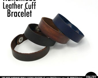Hand Dyed Genuine Leather Bracelet Wrap Wristband Strap Cuff Unisex Men Women   Snap Closure   Black Brown Blue   Simple Unique Jewelry Gift