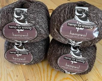 Light Brown Hemp and Wool Light Worsted Weight (DK) Yarn - 3.5 oz - 250 yards - Vegan Hempwol - Hemp for Knitting - heather