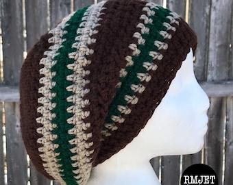 Brown Tan Green Earthy Tam Dreadlock Hat Hippie Beanie Hat Great for Dreads Festivals Long Hair Large Unisex