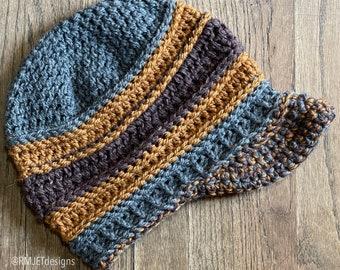 hemp and wool slouchy beanie hat with brim visor