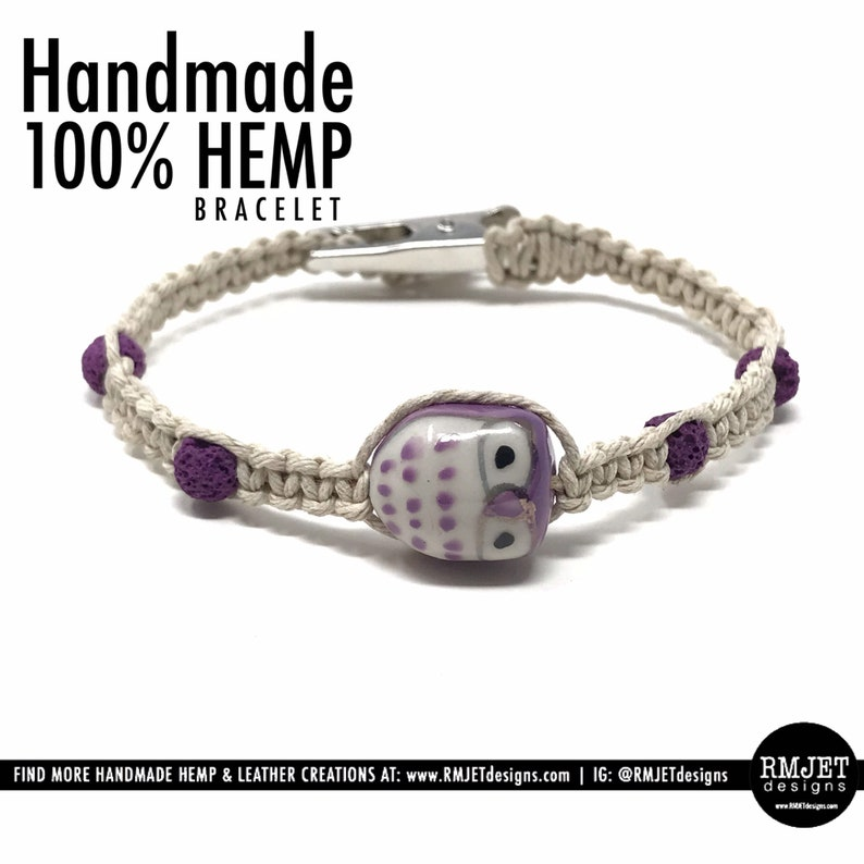 100% Natural HEMP Bracelet OWL with Lava Rock Bead  image 0