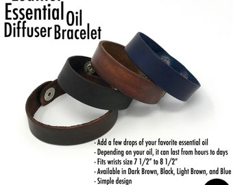 Leather Bracelet Wrap Wrist Cuff Unisex Men Women Essential Oil Diffuser Aromatherapy Jewelry Black Brown Blue