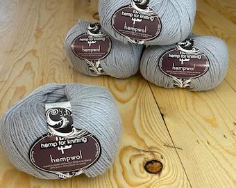 Gray Hemp and Wool Light Worsted Weight (DK) Yarn - 3.5 oz - 250 yards - Vegan Hempwol - Hemp for Knitting