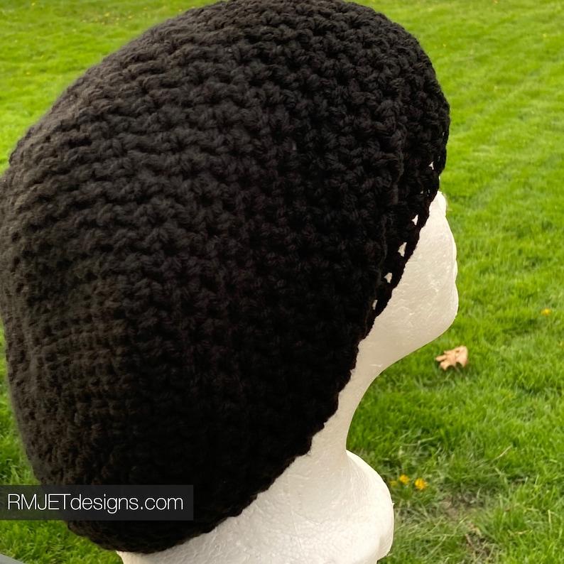 Solid Black Earthy Tam Dreadlock Hat Hippie Beanie Hat Great image 0