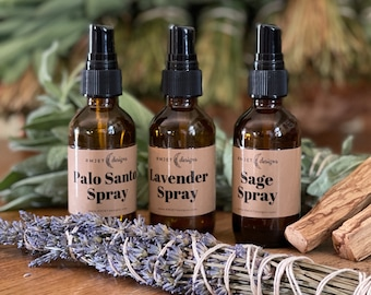 Sage Palo Santo Lavender Smudging Room Spray for Grounding Cleansing Centering   All natural energy cleaning   Sage Spray   Smokeless  