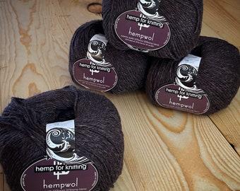 Brown Hemp and Wool Light Worsted Weight (DK) Yarn - 3.5 oz - 250 yards - Vegan Hempwol - Hemp for Knitting