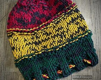 Rasta hand knit Slouchy Beanie Tam Dreadlock Hippie Great for Dreads Festivals Long Hair Large Unisex