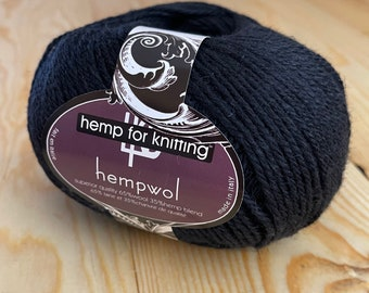 Black Hemp and Wool Light Worsted Weight (DK) Yarn - 3.5 oz - 250 yards - Vegan Hempwol - Hemp for Knitting