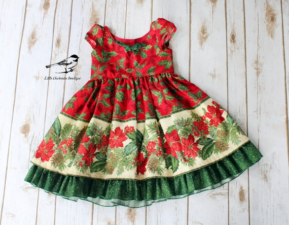 Toddler Christmas Dress.3t Girls Christmas Dress Toddler Christmas Dress Classic Christmas Dress Party Dress Vintage Inspired Dress Poinsettia Dress Holly
