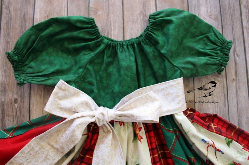 Girls size 6 Christmas Dress Nutcracker dress Holiday dress Party dress Ruffle dress Poinsettias Sparkle Gold red Green Plaid Ready to ship