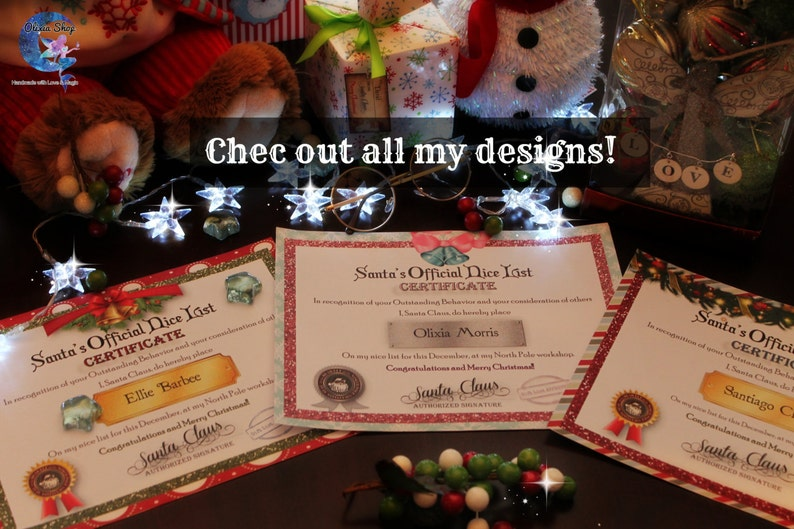 EDITABLE Santa/'s Official Nice List CERTIFICATE Christmas Bells with FREE picture of Santa!!