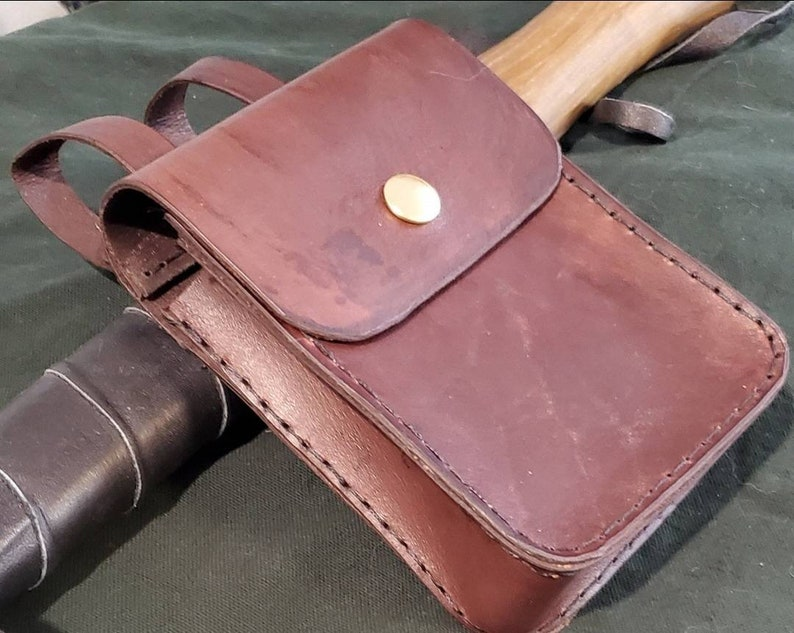 LARP costume pouch Handcrafted tooled leather pouch with belt loops