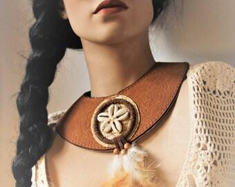 Unique, double layered leather statement necklace dreamcatcher