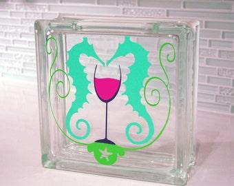 Glass Block Wine Cork Holder / Sea Glass Holder... OceanTheme