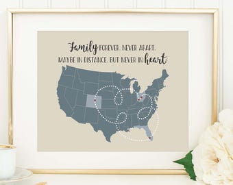 Personalized Distance Map - Family Distance Gift - Moving Away Gift - Long Distance Relationship - Going Away Gift - Family Love - Map Print