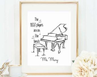 Personalized Piano Teacher Gift - Piano Player Quote - Piano Player Art Print - Music Teacher Gift - Music Student Gift - Piano Player Quote