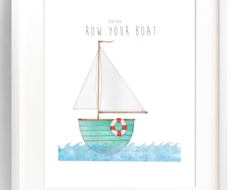 "Boats-Nursery rhyme-Row row row your boat-Nautical-Sail boats-8X10""-11X14""-Unframed-Children's wall decor"