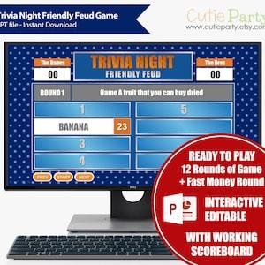 Wheel of Trivia Night Interactive Powerpoint Game Virtual Trivia Party Game Night Wheel Fortune Trivia Party Game Quarantine Game Night