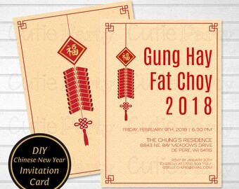 chinese new year invitation template fire cracker diy chinese new year invitation year of the dog party invitation instant download
