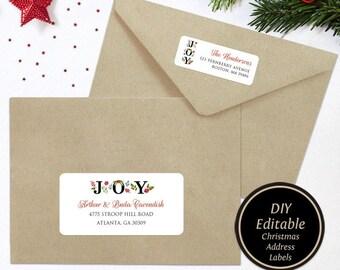 christmas address label template editable return address etsy