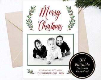 christmas photo card template family christmas card template etsy