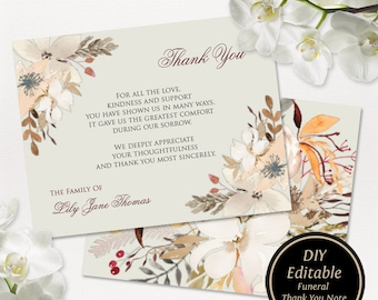 funeral thank you card printable funeral thank you note floral thank you card sympathy thank you card printable fall floral funeral card