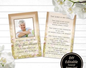 Funeral Prayer Card Printable Beige Template Memorial Editable