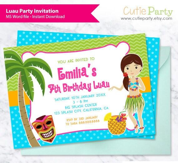 Luau Party Invitation Template Hawaiian Party Invitation Etsy