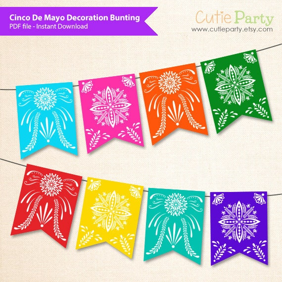 image relating to Papel Picado Printable referred to as Cinco De Mayo Bunting Get together Printable, Mexican Fiesta decor bunting, Papel Picado printable bunting, Mexican Paper Slash Bunting Banner