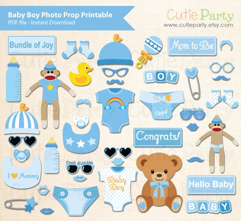 Boy Baby Shower Photo Booth Prop Baby Shower Photo Booth Etsy