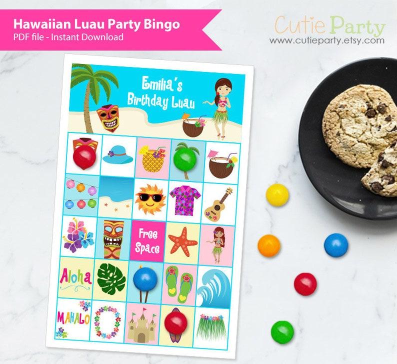 Luau Party Bingo Game, Girl Birthday Party Bingo Game, Hawaiian Luau Theme  Party Bingo, Printable Birthday Luau Bingo, Girl Birthday Game