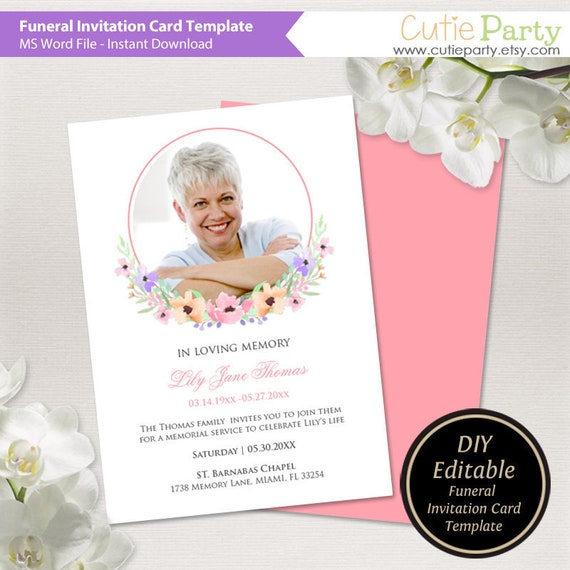 Funeral Announcement Template Printable Funeral Invite Etsy