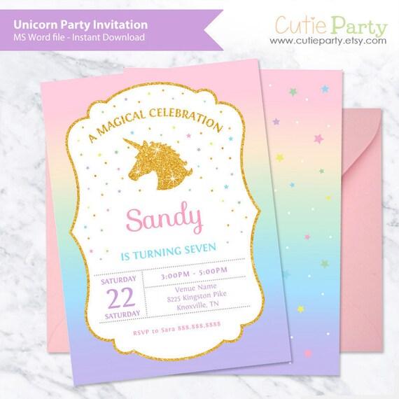 Unicorn Party Invitation Template Birthday Etsy